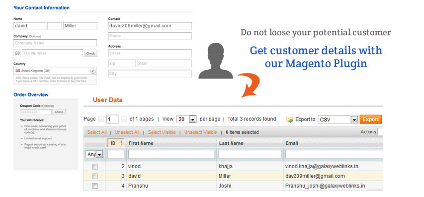 Magento User Data Capture Extension | Ecommerce Web Application