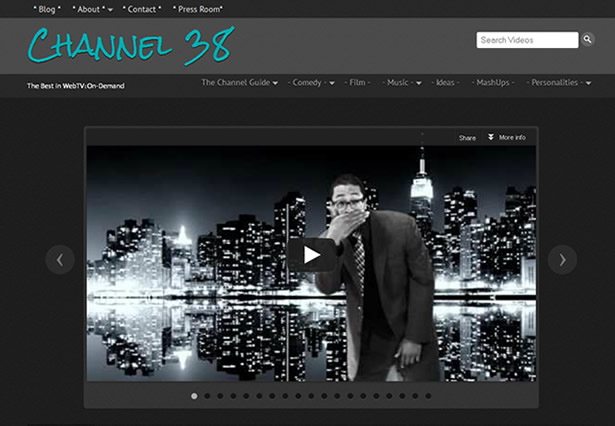 Channel38.tv - An Entertainment Video Platform Portfolio Image - Galaxy Weblinks